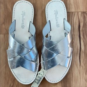 Madewell metallic Silver Woven Slide Sandal